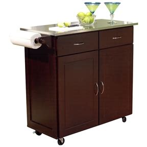 kitchen island cart with stainless steel top modern stainless steel top kitchen cart island in espresso 9799