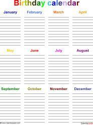 excel template birthday calendar color landscape orientation