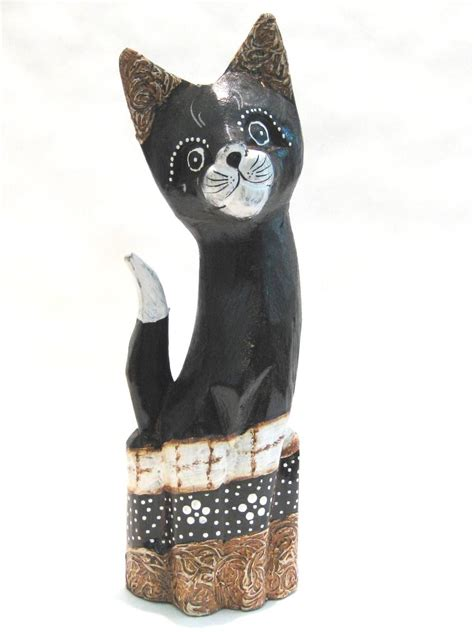 fair trade hand carved  wooden shelf cat feline