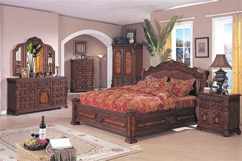 brown solid wood finish traditional bedroom set