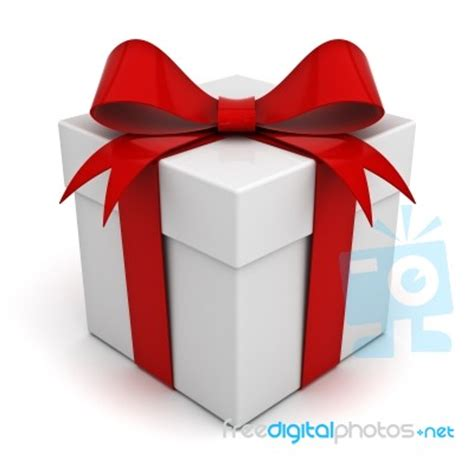 present box with red bow stock image royalty free image