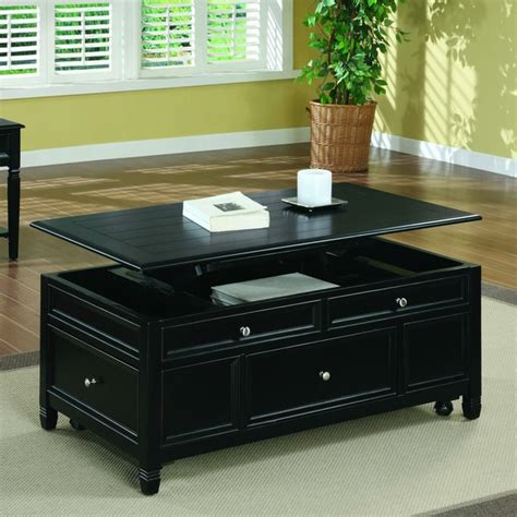 Your coffee table needs the following items: Black Solid Wood Lift Top Storage Cocktail Table - Overstock™ Shopping - Great Deals on Coffee ...