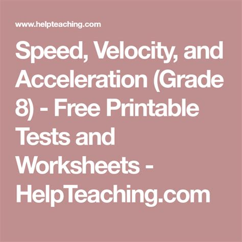 speed velocity  acceleration grade