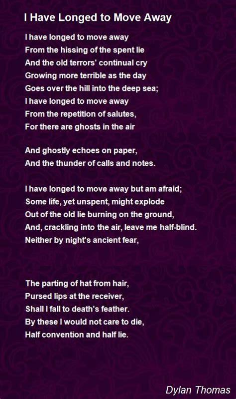 longed  move  poem  dylan thomas poem hunter