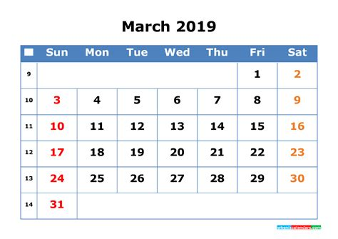 printable calendar  march  week number
