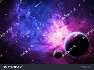 Pink Planet And Nebula - Elements Of This Image Furnished ...