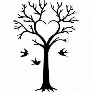 Stickers Arbre Noir : sticker arbre en coeur et oiseaux ~ Teatrodelosmanantiales.com Idées de Décoration