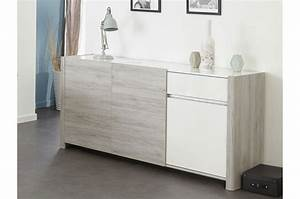 Enfilade Blanc Laqué : enfilade 3 portes gris et blanc brillant louno cbc meubles ~ Teatrodelosmanantiales.com Idées de Décoration