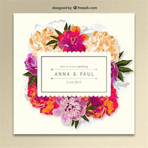 floral wedding invitation vector free download With wedding invitations templates freepik