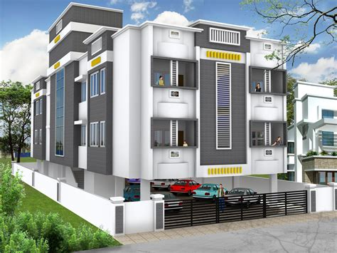 beautiful three story apartment elevations of residential buildings in indian photo