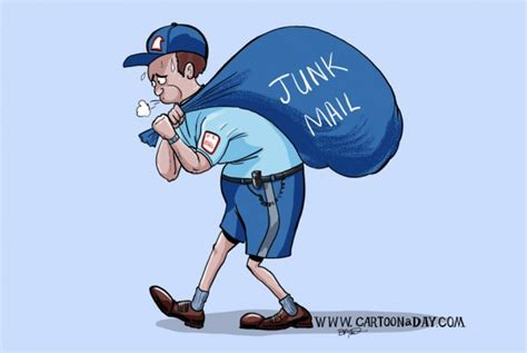 Mail Carrier Junk Mail Color Cartoon