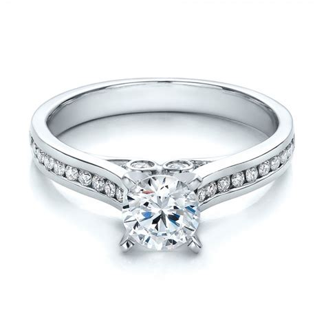 contemporary engagement wedding ring sets contemporary channel set diamond engagement ring 100405