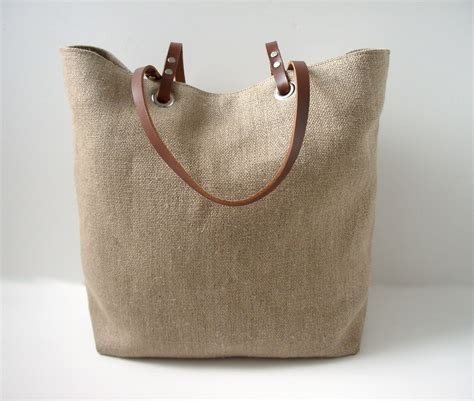 linen beach bag  leather handle beach bag