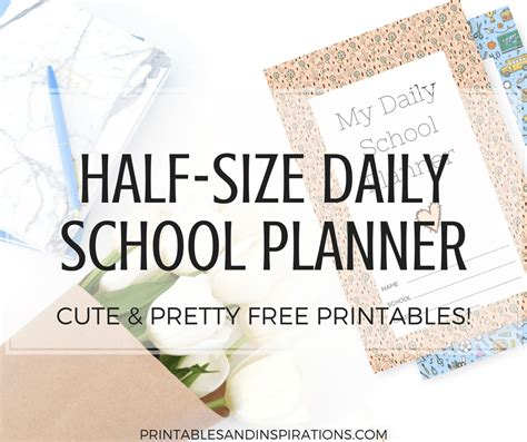 size daily school planner