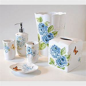 lenox blue floral garden shower curtain and bath accessories With flower bathroom sets