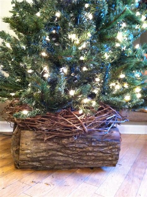 christmas tree skirt alternative made from rustic wood no