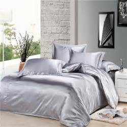 luxury silver gray silk satin comforter duvet covers bedding sets 4pc twin full queen king