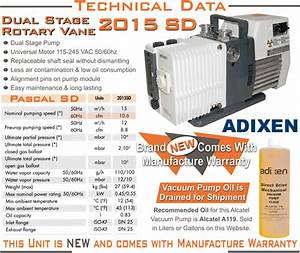 New Alcatel Adixen 2015sd 2015 Sd Pascal Dual Stage Rotary