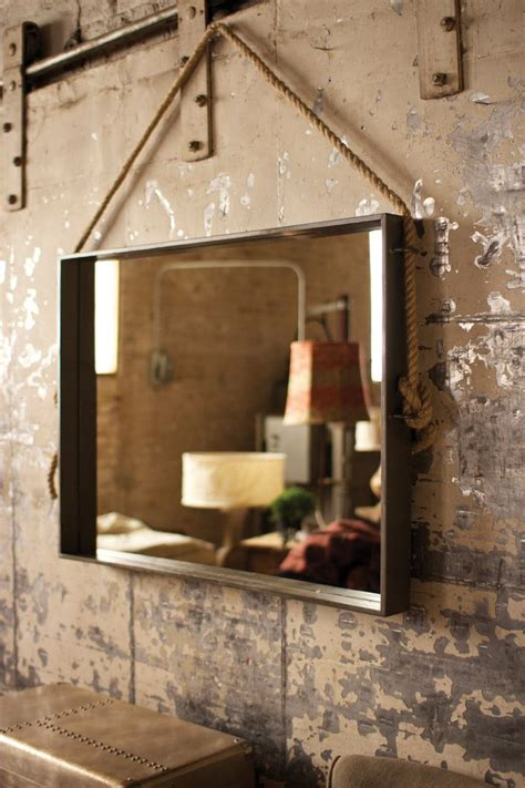 Large Rectangle Metal Mirror With Rope Hanger   Mirrors