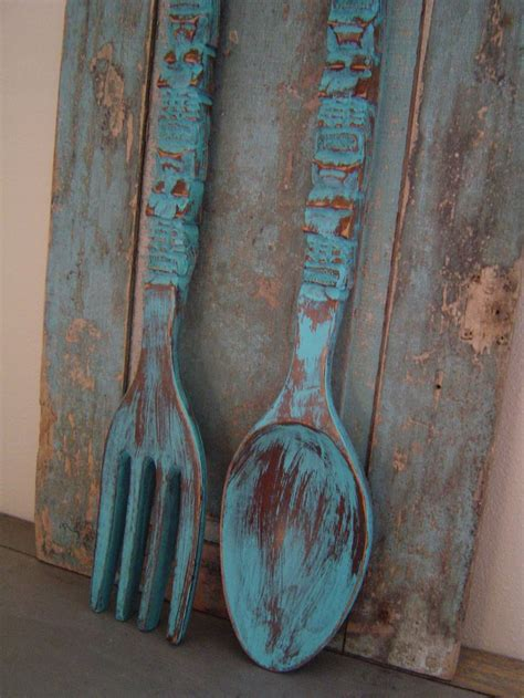 turquoise spoon fork wooden wall decor distressed big wooden wall decor wooden walls and spoon