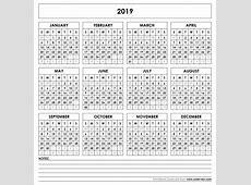 Blank 2019 Calendar printable yearly calendar
