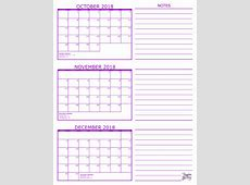 Printable Monthly Calendar November And December 2018