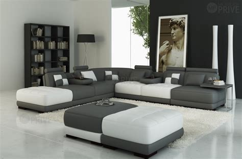 canap 233 d angle en cuir italien 7 8 places elixir gris fonc 233 et blanc mobilier priv 233 deco