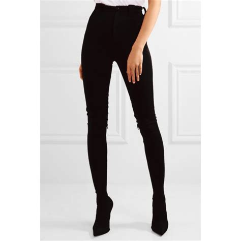 Black Fashion Boots Sexy Stiletto Heels Satin Legging