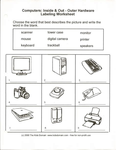 computers in out labeling worksheet