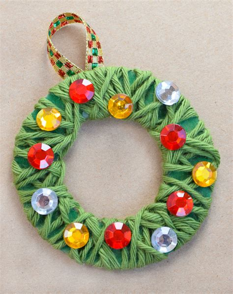 yarn wrapped wreath ornaments what can we do 194 | Yarn Wreath Christmas Ornament Craft Kids 10