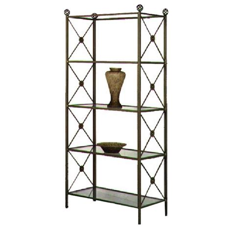 neoclassic wrought iron etagere  glass shelves dcg stores