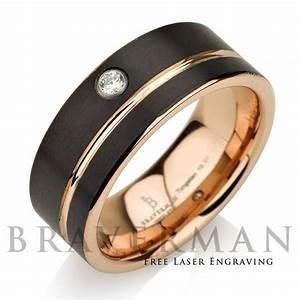 black tungsten wedding band14k rose gold white diamond With black and rose gold mens wedding ring