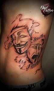 Théâtre mask happy sad Dad TattoO Studio | Tags ...