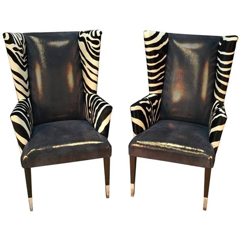 Cowhide Chairs by Pair Of Modern Wingback Chairs In Zebra Printed Cowhide