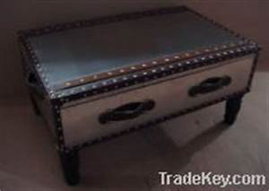 stainless steel with real leather steamer trunk coffee With stainless steel trunk coffee table