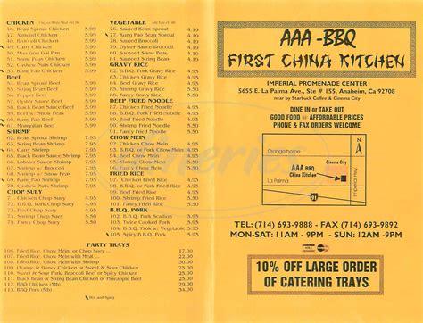 Aaa Bbq First China Kitchen Menu  Anaheim  Dineries