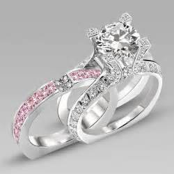 cz engagement rings white gold white and pink cubic zirconia silver white gold filled wedding ring set in la cathedrale style