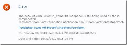 changing scope not updating template updating passwords on sharepoint 2010 the sean blog
