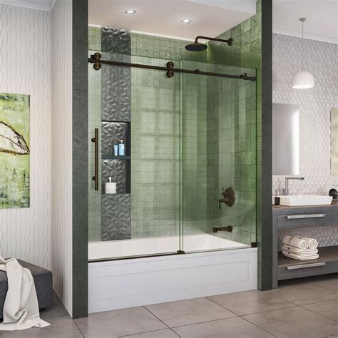 Tub Shower Doors by Maax Luminescence 59 In X 57 1 2 In Frameless Sliding