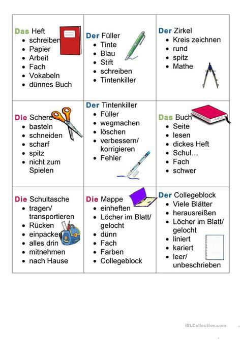 schulsachen tabu differenziert deutsch lernen