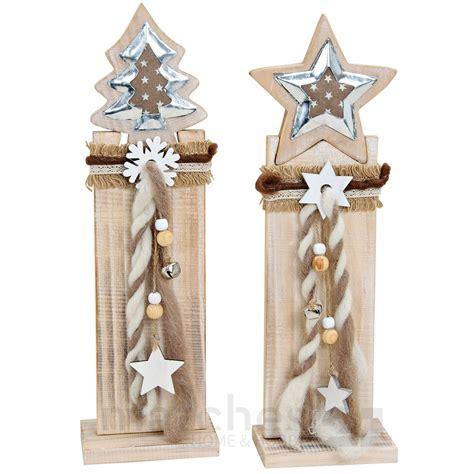 holz weihnachtsdeko holzpfahl mit tannenbaum oder stern