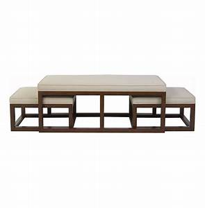 chatham brown coffee table ottoman with stools natural linen With coffee table with nested ottomans