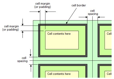Html Table Margin by Customizing The Margins And Spacing Of The Cell