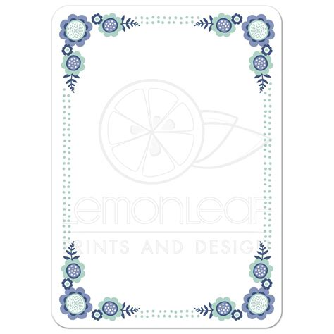 floral flat cap blue bloom flat blank note card with whimsical