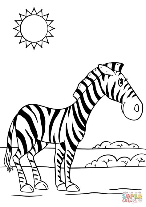 cartoon zebra coloring page  printable coloring pages