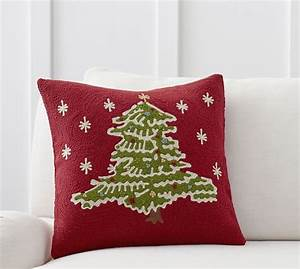 christmas tree crewel embroidered pillow cover pottery barn With christmas throws and pillows