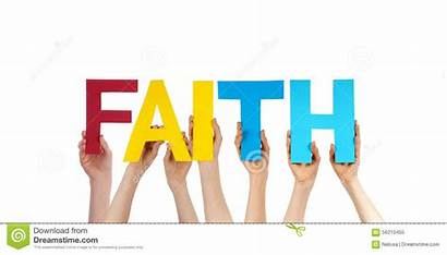 Faith Word Holding Hands Colorful Straight Building