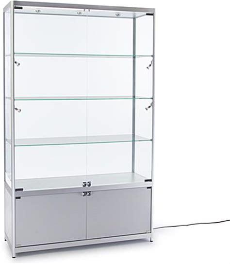 illuminated retail cabinet silver aluminum curio cabinet