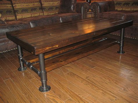 steel pipe desk legs distressed rustic knotty pine coffee table with steel