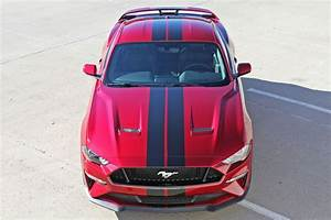 """2018 2019 Ford Mustang Racing Stripes STAGE RALLY Vinyl Graphics 7"""" inch Wide Hood Decals"""